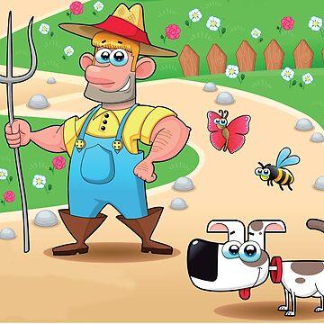 farmer and dog, animal farm by kidshop