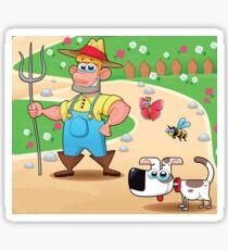 farmer and dog, animal farm Sticker
