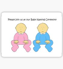 Baby Naming Ceremony Invitation for twins. Sticker