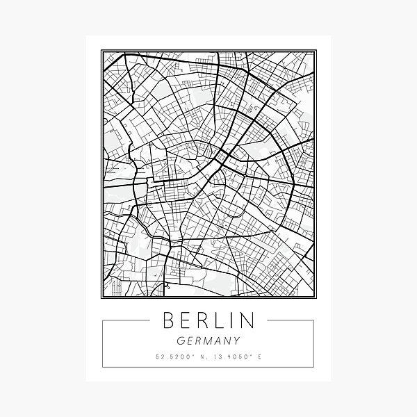 Minimalist Berlin Street Map Print Photographic Print