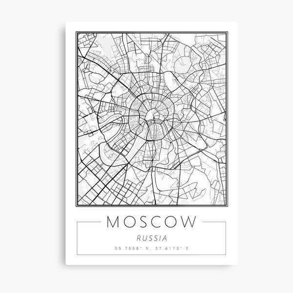 Moscow Map Print   Minimalist Wall Art City Map Metal Print