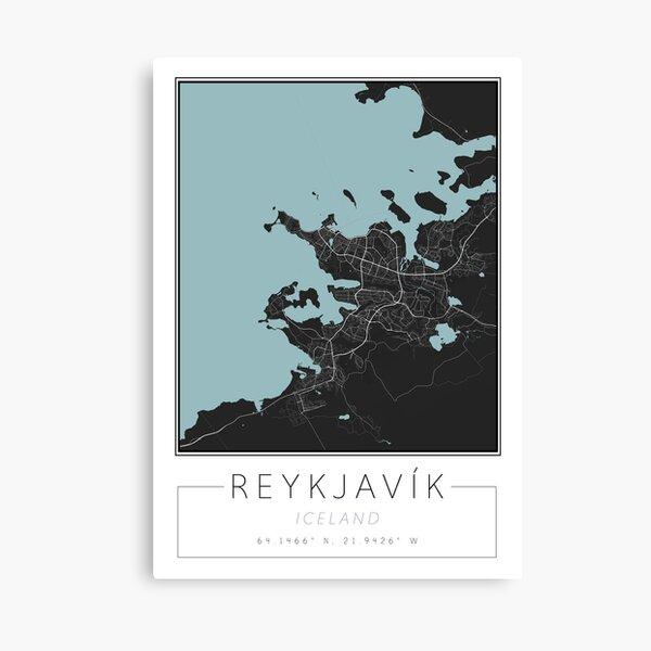 Reykjavik City Map Print   Iceland Map Wall Art Print Canvas Print