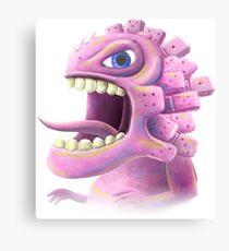 Funny monster lizard dragon rose Canvas Print