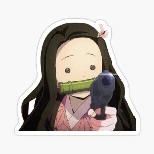Nezuko Gun Meme Sticker
