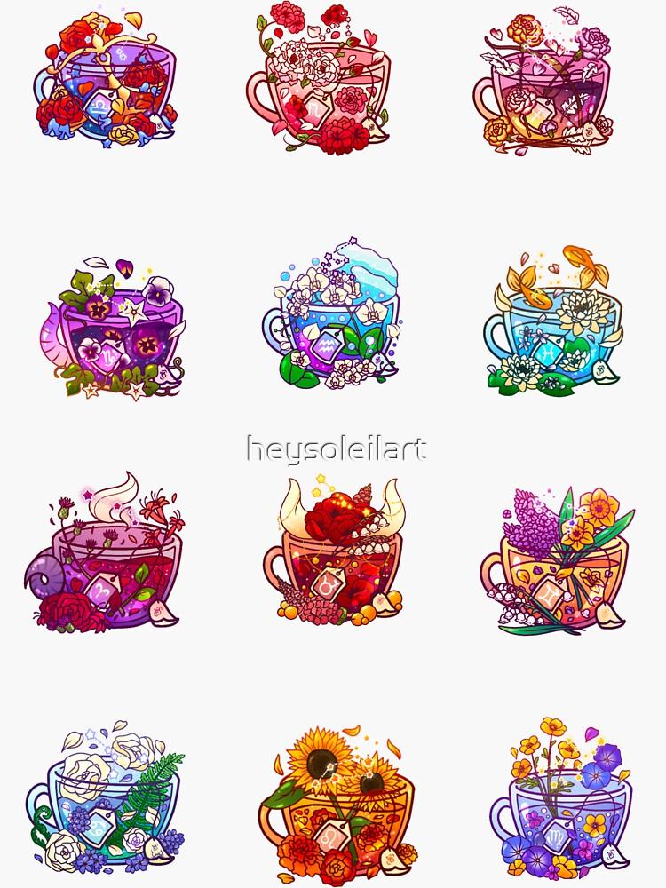 Zodiac Teacup Sticker Sheet by heysoleilart