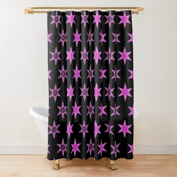 étoile fleur rose design fond noir Rideau de douche