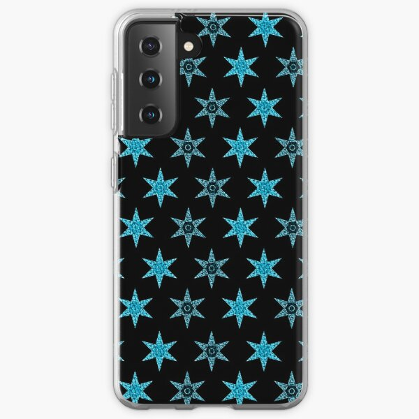 étoile fleur bleu design fond noir Coque souple Samsung Galaxy