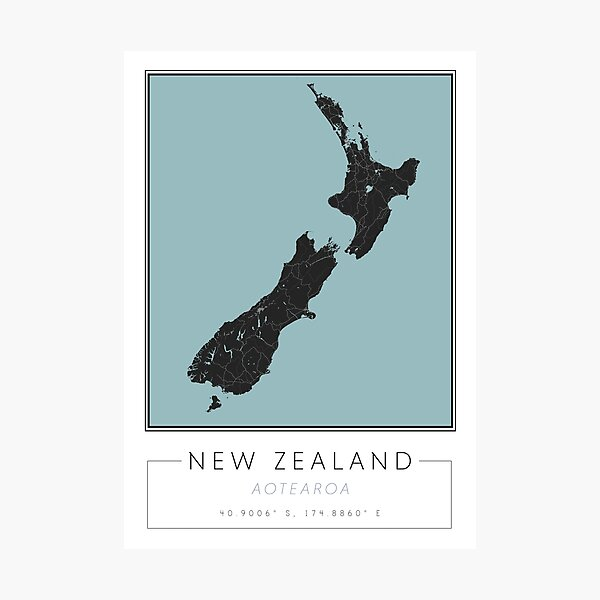 New Zealand Map Print   Black and Blue Map Art Photographic Print