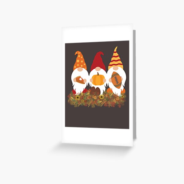 Thanksgiving Gnomes and Autumn Leaves Greeting Card