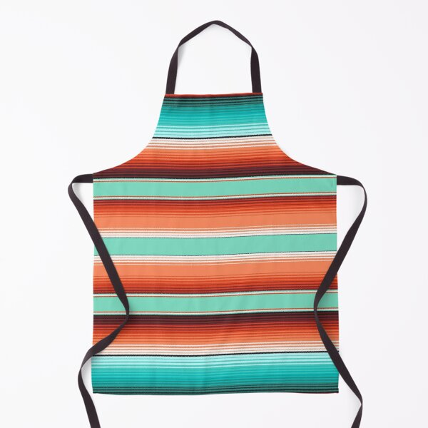 Teal Turquoise and Burnt Orange Southwest Serape Blanket Stripes Apron