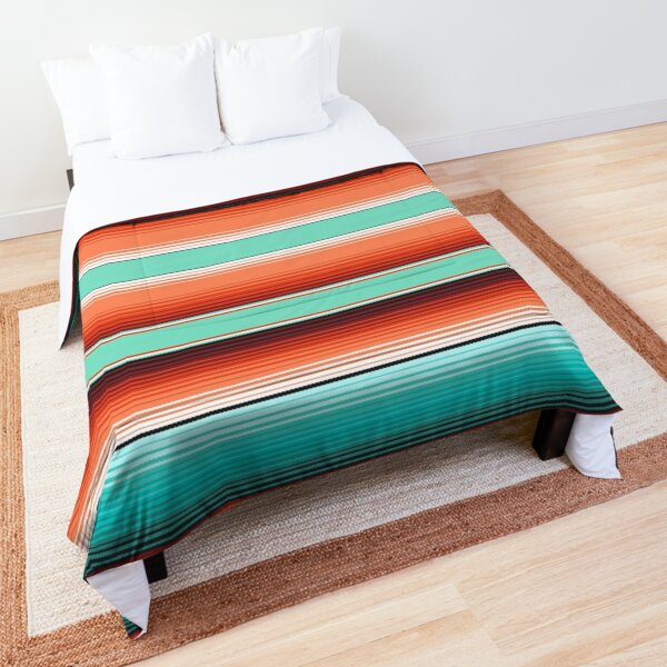 Teal Turquoise and Burnt Orange Southwest Serape Blanket Stripes Comforter