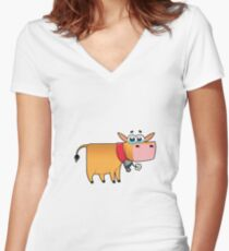 cow animal farm for kid Women's Fitted V-Neck T-Shirt