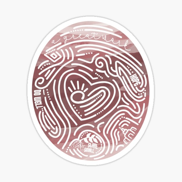 A Great Work-Pink Marble Thumbprint Sticker