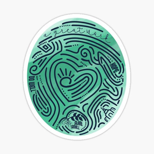 A Great Work-Green Marble Thumbprint Sticker