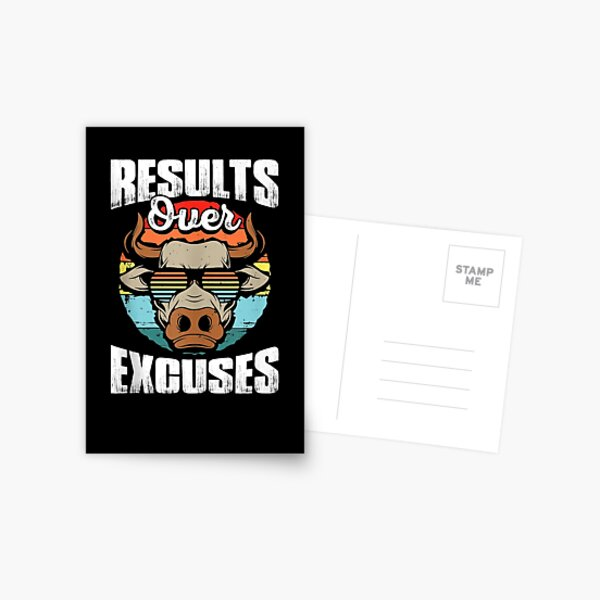 Results Over Excuses Fitness Workout Bodybuilding Postcard