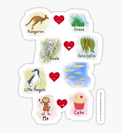 Aussie Friends love food - Girl Sticker