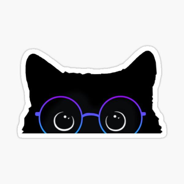 Gato negro con gafas Pegatina