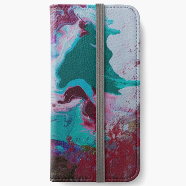 Red Green Pour Art iPhone Wallet