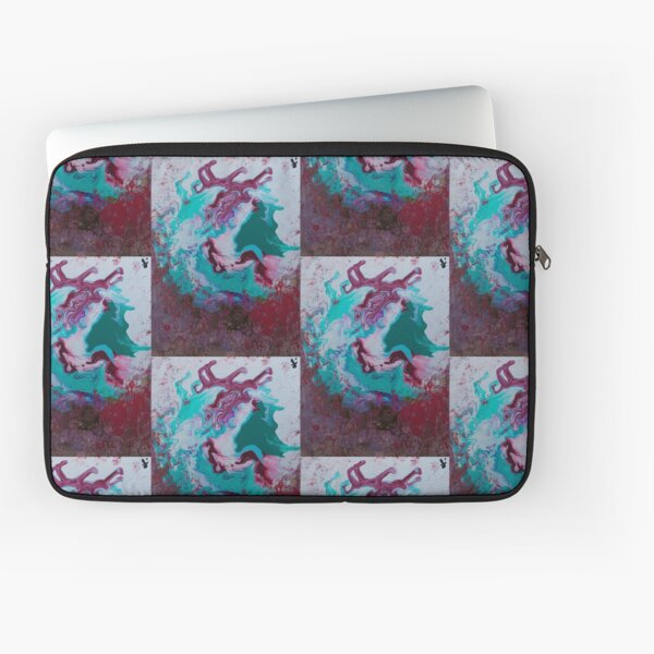 Red Green Pour Art Laptop Sleeve