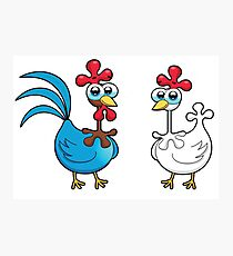 chicken animal farm and kid Photographic Print
