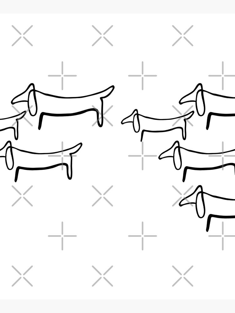 Pablo Picasso Line Art Wild Wiener Dog Dachshund Pattern Artwork Sketch black and white Hand Drawn ink Silhouette HD High Quality by iresist