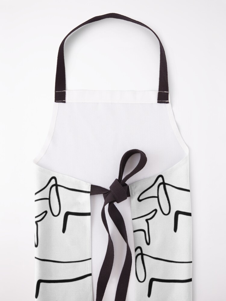 Alternate view of Pablo Picasso Line Art Wild Wiener Dog Dachshund Pattern Artwork Sketch black and white Hand Drawn ink Silhouette HD High Quality Apron