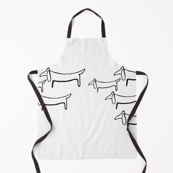 Pablo Picasso Line Art Wild Wiener Dog Dachshund Pattern Artwork Sketch black and white Hand Drawn ink Silhouette HD High Quality Apron