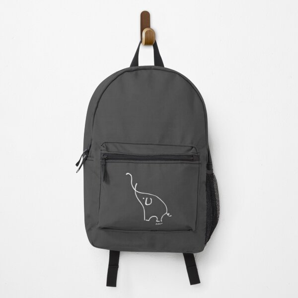 Pablo Picasso Line Art Cute Elephant Artwork Sketch black and white Hand Drawn ink Silhouette charcoal gray HD High Quality Backpack