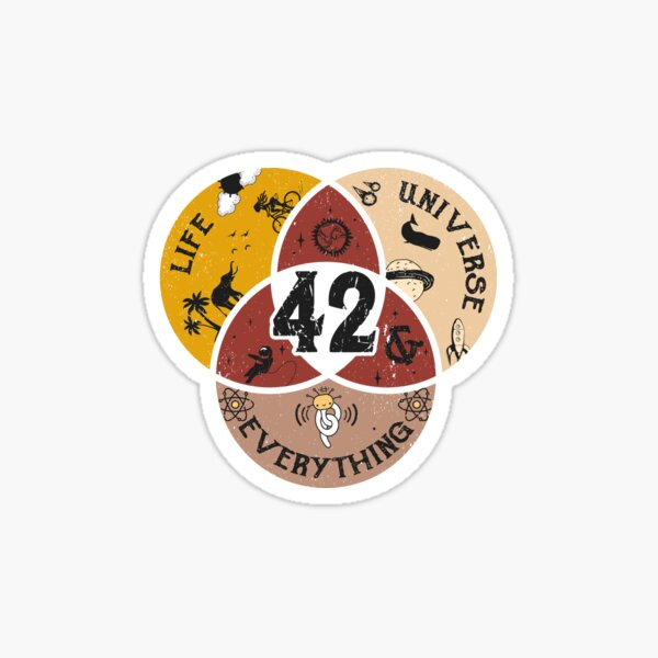 42 Life Universe and Everything Hitchhiker's Guide Sticker