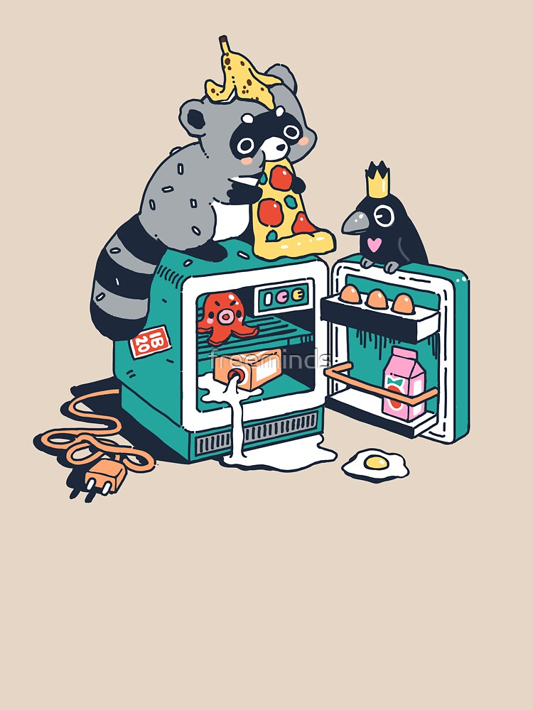 Raccoon and leftovers by freeminds