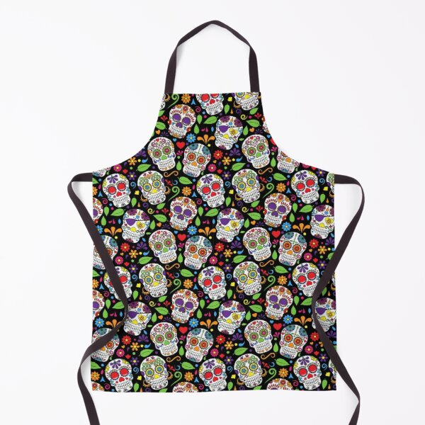 Colorful Sugar Skull Flower Black Pattern Apron
