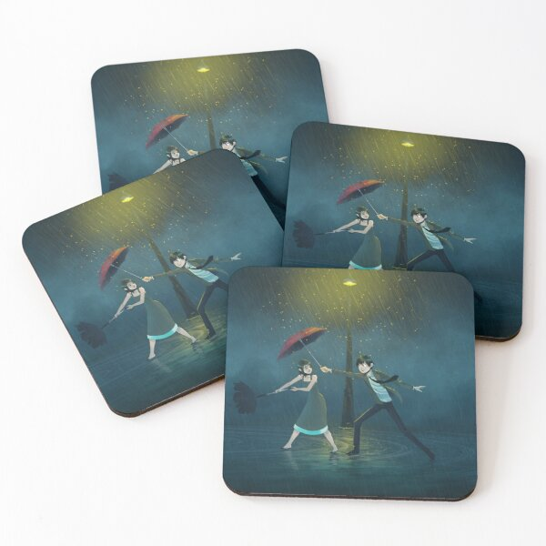 That Guy with an Umbrella Illustration Coasters (Set of 4)