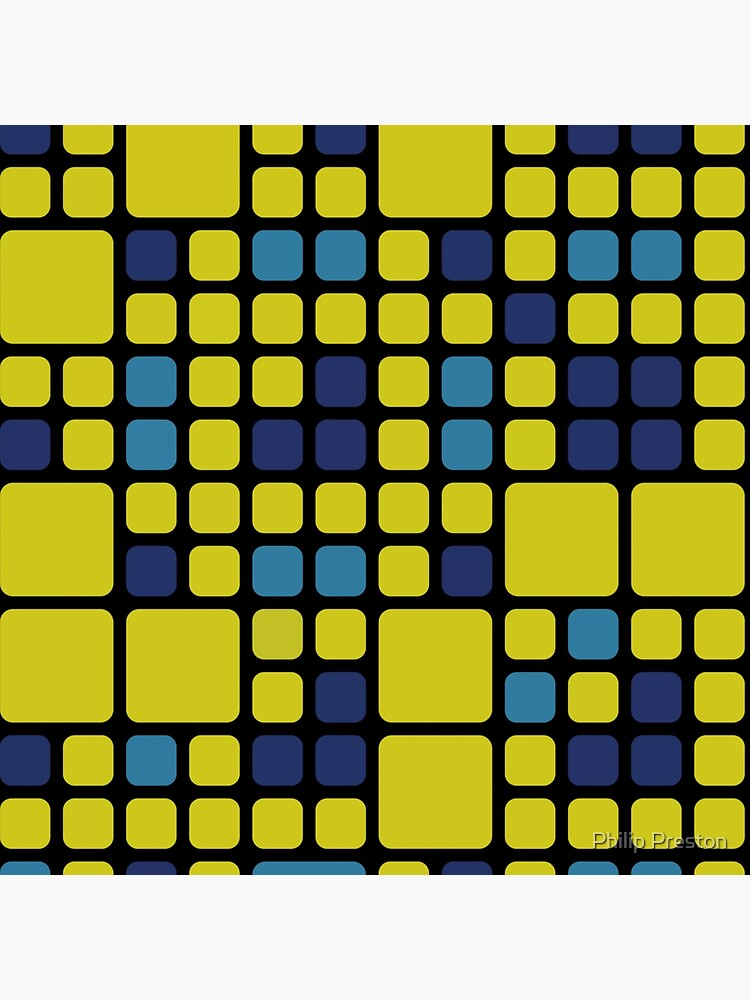 Decorative Abstract Pattern With Blue And Yellow Squares by prestonphoto