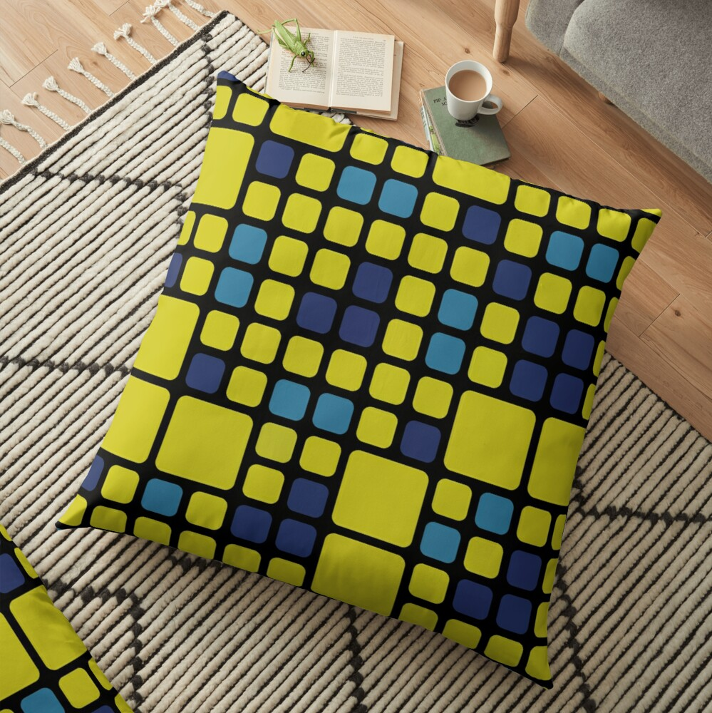 Decorative Abstract Pattern With Blue And Yellow Squares Floor Pillow