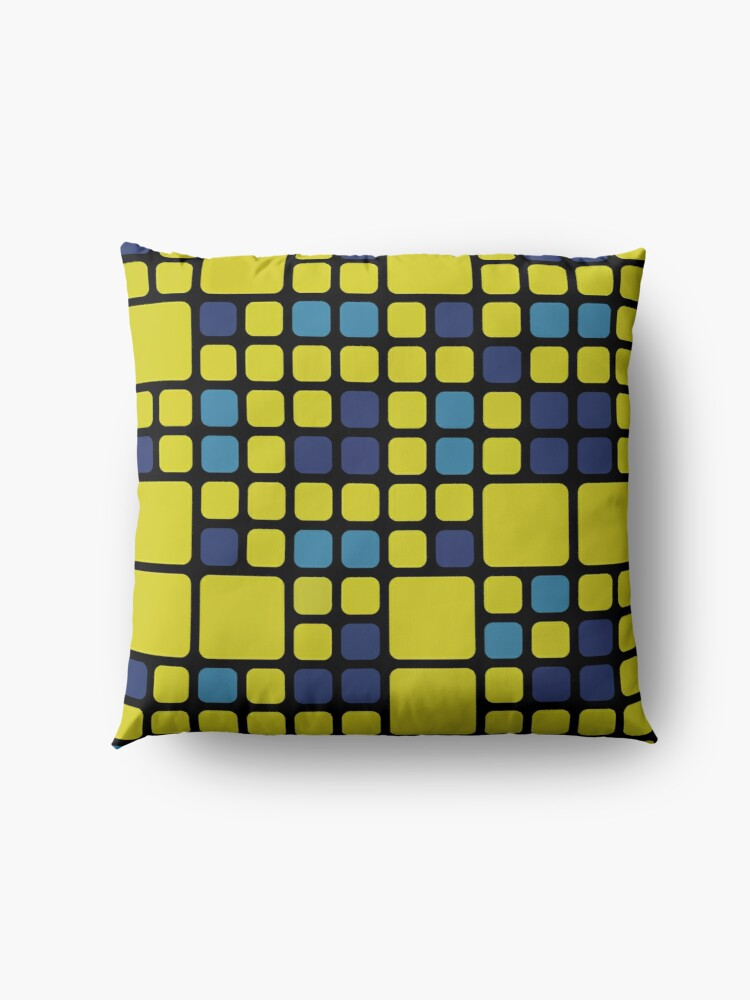 Alternate view of Decorative Abstract Pattern With Blue And Yellow Squares Floor Pillow