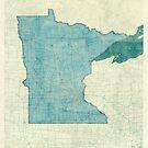 Minnesota State Map Blue Vintage by HubertRoguski