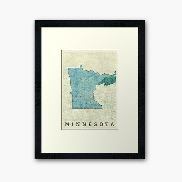 Minnesota State Map Blue Vintage Framed Art Print