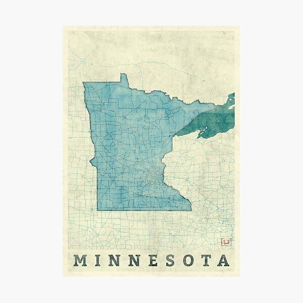 Minnesota State Map Blue Vintage Photographic Print