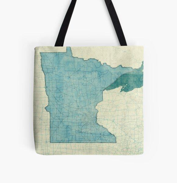 Minnesota State Map Blue Vintage All Over Print Tote Bag