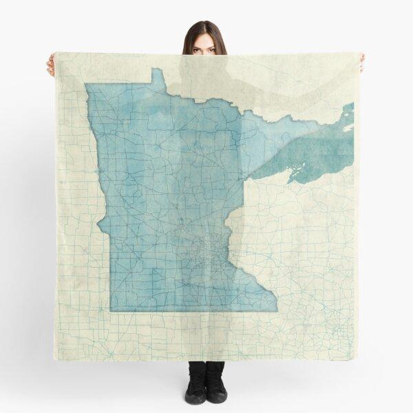 Minnesota State Map Blue Vintage Scarf
