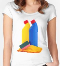 Cleaning Products Bottles Sponge and Duster Women's Fitted Scoop T-Shirt