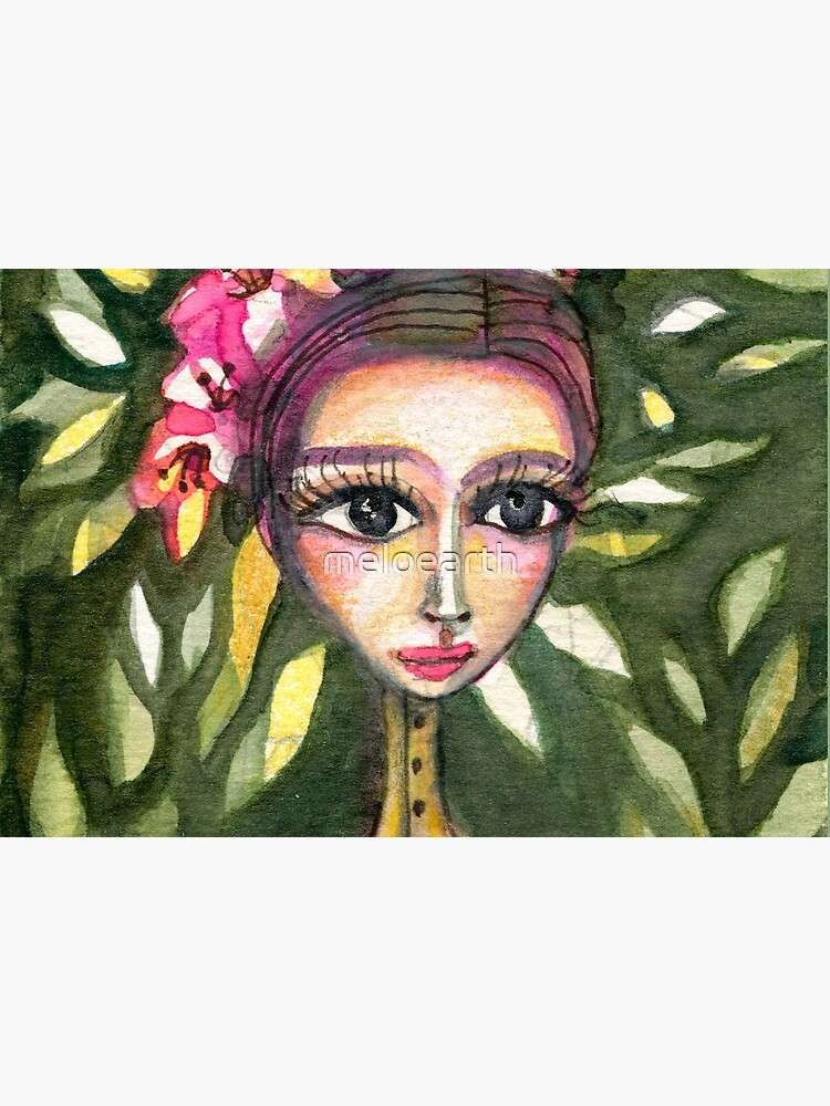 Frida Kahlo Portrait in Pink Corset and Foliage, Frida art, Meloearth by meloearth