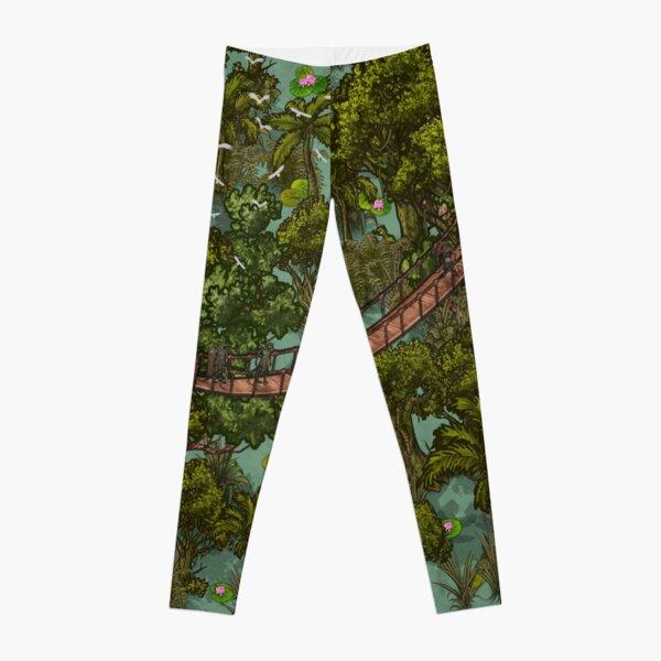 Fantasy  Green Tropical Map Leggings