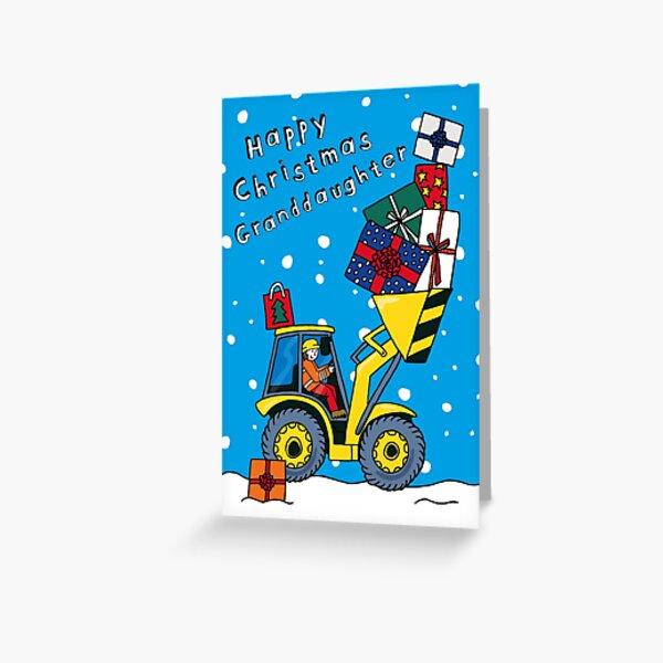 Granddaughter - Christmas Digger Card - 3 skin tones available! Greeting Card