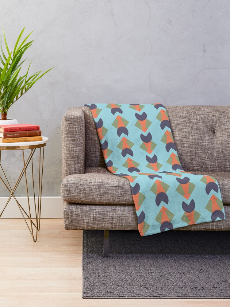 Alternate view of geometric fish Throw Blanket