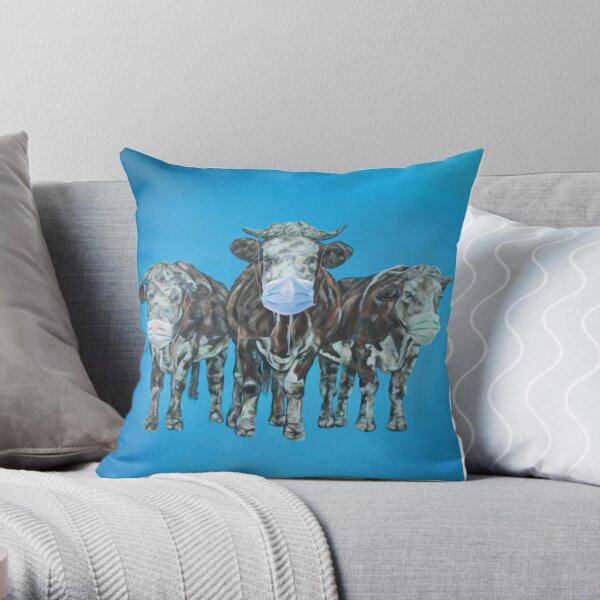 Herd Immoooonity. Popular cow art by Sam Fenner. Throw Pillow
