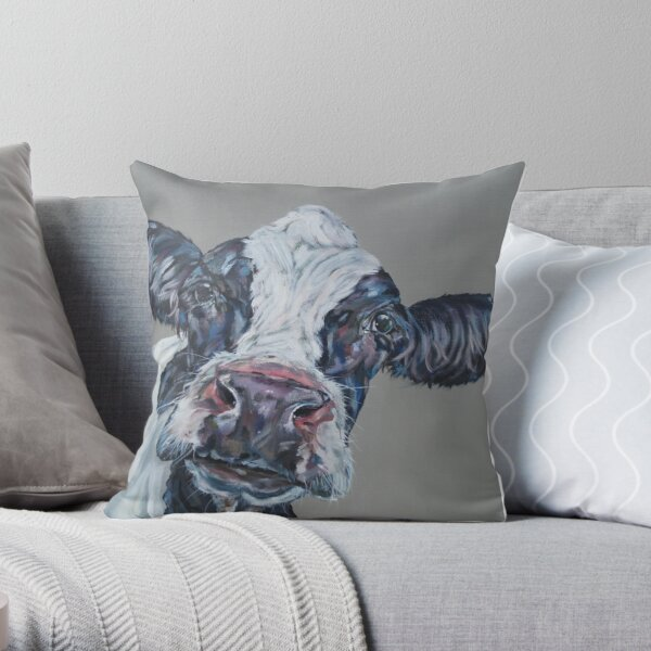 You Had Me At Moo. Popular cow art by Sam Fenner Throw Pillow