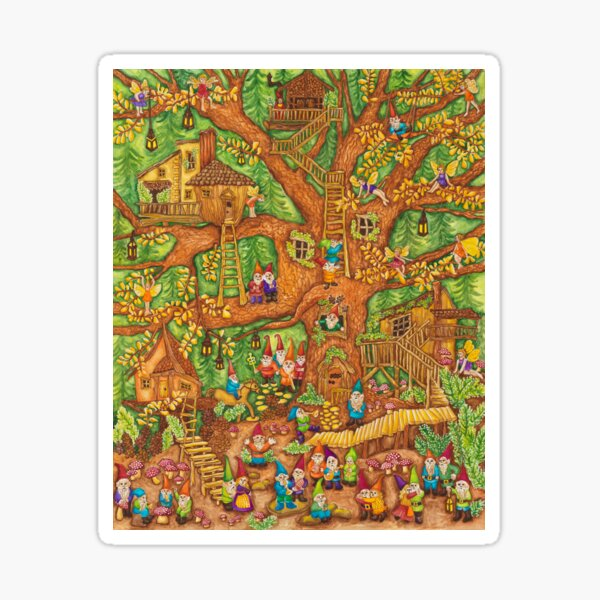 Dancing Gnomes Tree House Sticker