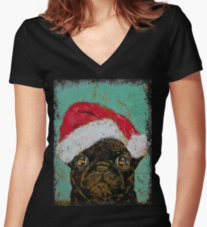 Santa Pug Women's Fitted V-Neck T-Shirt
