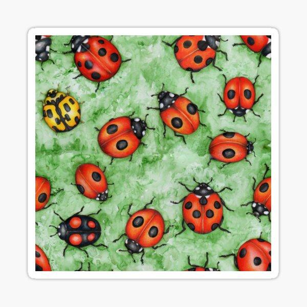 Ladybirds on Green Sticker